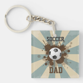 Soccer Dad Retro Design Double-Sided Square Acrylic Key Ring