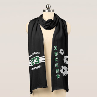 Soccer Dark Green Letter Personalize Scarf