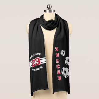 Soccer Dark Red Letter Personalize Scarf Wrap