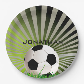 Soccer Design Paper Party Plate