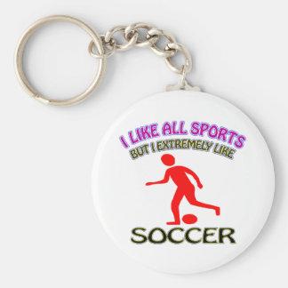 Soccer designs basic round button key ring