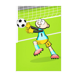 Soccer doorman takes the ball with its hands canvas print