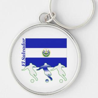 Soccer El Salvador Silver-Colored Round Key Ring