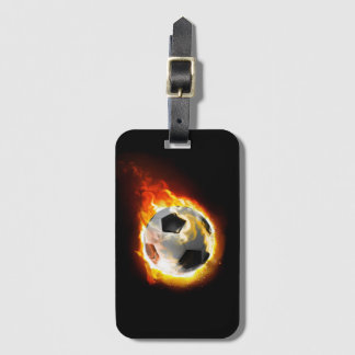 Soccer Fire Ball Luggage Tag