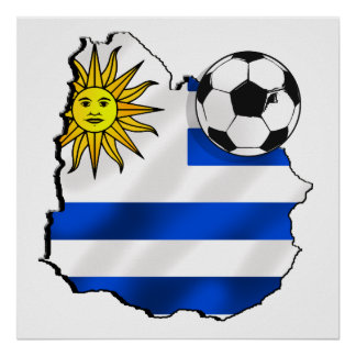 Soccer flag map of Uruguay gifts for Uruguayans Poster