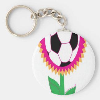 Soccer flower design key chain