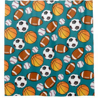 Soccer Football Baseball basketball Sports theme Shower Curtain