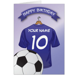 Soccer Football Blue Shirt Custom Sports Birthday Greeting Card