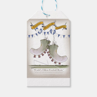 soccer football blue team boots gift tags