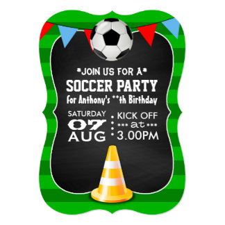 Soccer/Football Party Chalkboard Personalised 13 Cm X 18 Cm Invitation Card