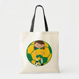 Soccer Girl 4 and Ball Green and Yellow Budget Tote Bag