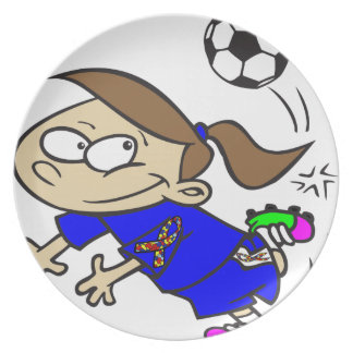 SOCCER GIRL AUTISM RIBBON PLATE