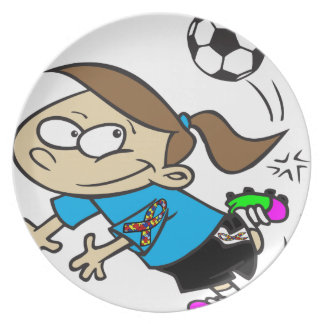 SOCCER GIRL AUTISM RIBBON PLATES