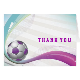 SOCCER GIRL Bat Mitzvah Thank You Card