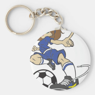 SOCCER GIRL BRUNETTE BASIC ROUND BUTTON KEY RING