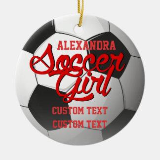 Soccer Girl Custom Round Ceramic Decoration