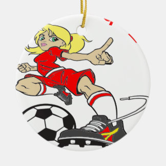 SOCCER GIRL RED TEXT CERAMIC ORNAMENT
