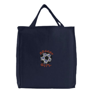 Soccer Girl Tote Embroidered Tote Bag