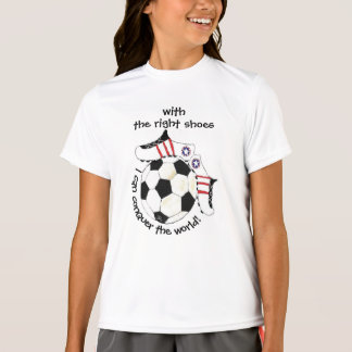 Soccer Girl's Inspirational Conquer the World T-Shirt