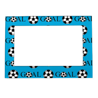 Soccer Goal Blue and White Magnetic Picture Frame