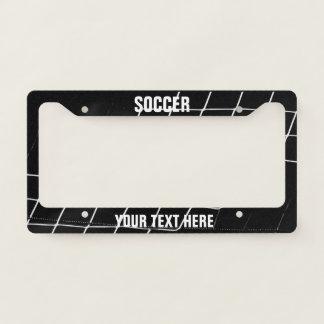 Soccer goal net black and white licence plate frame