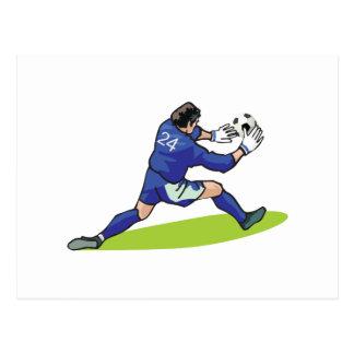 soccer goalie block graphic postcard
