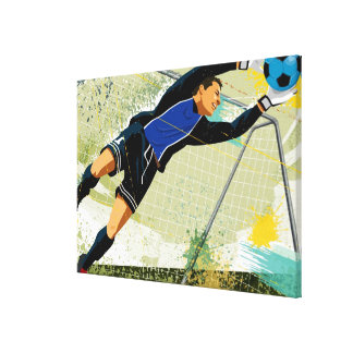 Soccer goalie blocking ball stretched canvas prints