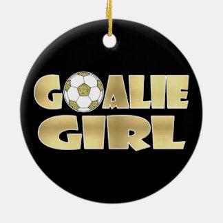 Soccer Goalie Girl Gold Ceramic Ornament
