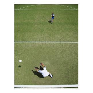 Soccer goalie missing soccer ball 2 postcard