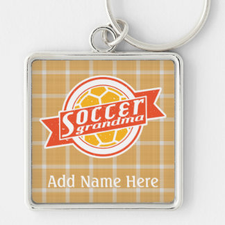 Soccer Grandma Customisable Key Ring Silver-Colored Square Key Ring