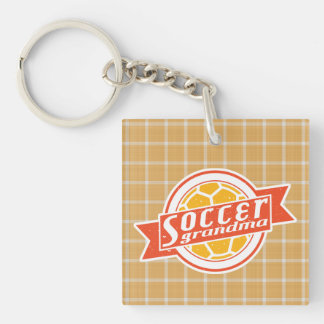 Soccer Grandma Keyring Double-Sided Square Acrylic Key Ring
