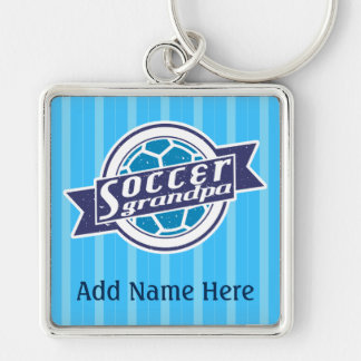 Soccer Grandpa Customizable Keyring Silver-Colored Square Key Ring