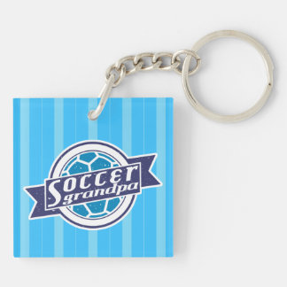 Soccer Grandpa Keyring Double-Sided Square Acrylic Key Ring