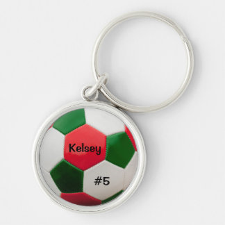 Soccer Green and Red Key Ring Silver-Colored Round Key Ring