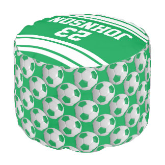 Soccer Green and White Sport Pattern Pouf