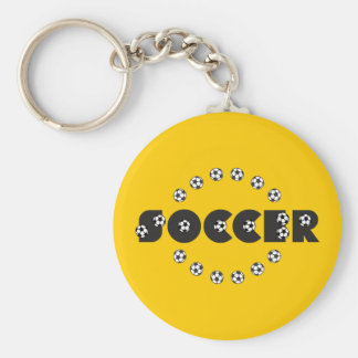 Soccer in Black Basic Round Button Key Ring