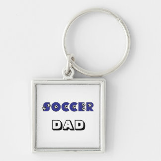 Soccer in Blue Silver-Colored Square Key Ring