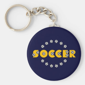 Soccer in Gold Basic Round Button Key Ring