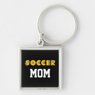 Soccer in Gold Silver-Colored Square Key Ring