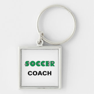 Soccer in Green Silver-Colored Square Key Ring