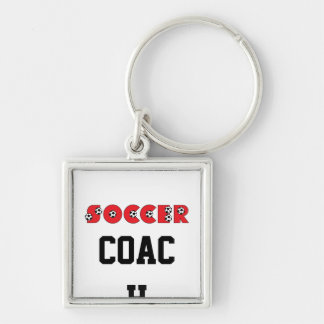 Soccer in Red Silver-Colored Square Key Ring