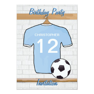 Soccer Jersey Sky Blue and White Birthday Party Card