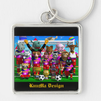 soccer Silver-Colored square key ring