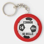 Soccer Keychains, Name, Team Name, Number and Year Basic Round Button Key Ring