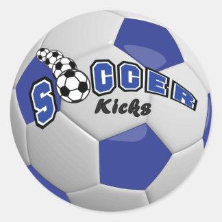 Soccer Kicks | Dark Blue Round Sticker