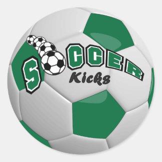 Soccer Kicks | Dark Green Round Sticker