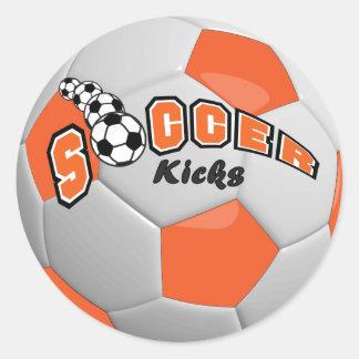 Soccer Kicks | Orange Round Sticker