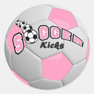 Soccer Kicks | Pink Round Sticker