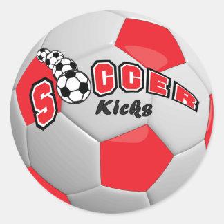 Soccer Kicks | Red Round Sticker