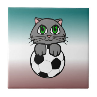 Soccer Kitten Ceramic Tile